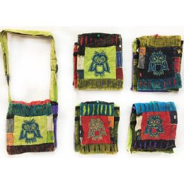 15 Units of Nepal Small Sling Bags With Single Owl - Shoulder Bags & Messenger Bags