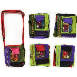 15 Units of Nepal Small Sling Bags With Front Patch Work Pocket - Shoulder Bags & Messenger Bags