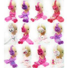 24 Units of Girl's Cute Assorted Animal Scarves Ear Muff Set - Winter Scarves