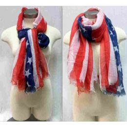 """24 Units of American Flag Scarves One Size 72"""", 100% Acrylic - Winter Scarves"""