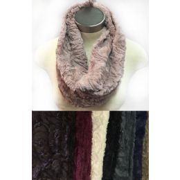 24 Units of Faux Fur Infinity Circle Scarves Rose Pattern Assorted - Winter Scarves