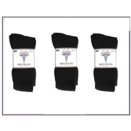 60 Units of Ladies Diabetic Crew 3 Pair Pack -Black Size 9-11 - Women's Diabetic Socks