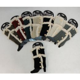 12 Units of Antique LacE-3 Buttons Knitted Boot Cuff - Womens Leg Warmers