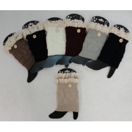 12 Units of Knitted Boot Cuffs [1 ButtoN-Antique Lace] - Womens Leg Warmers