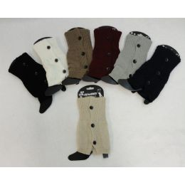 12 Units of Knitted Boot Cuffs [3 Buttons] - Womens Leg Warmers