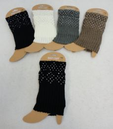 12 Units of Knitted Boot Cuffs [rhinestones] - Womens Leg Warmers