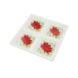 72 Units of Sectioned Poinsettia Party Tray - Serving Trays