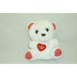 "48 Units of 6"" White Plush Bear - Valentines"