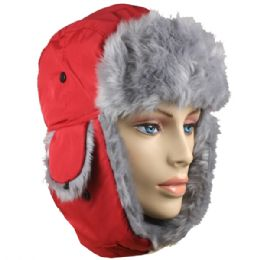 36 Units of Red Winter Pilot Hat With Faux Fur Lining And Strap - Trapper Hats