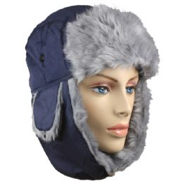 36 Units of Blue Winter Pilot Hat With Faux Fur Lining And Strap - Trapper Hats
