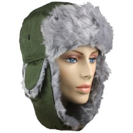 36 Units of Green Winter Pilot Hat With Faux Fur Lining And Strap - Trapper Hats