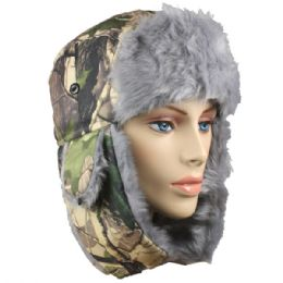 36 Units of Winter Army Pilot Hat With Faux Fur Lining And Strap - Trapper Hats
