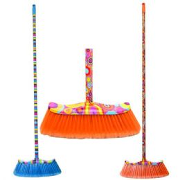 24 Units of Broom With Design Handles - Dust Pans