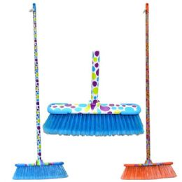 24 Units of Broom Printed Design Sticks Hd W/rubber Bumpers - Dust Pans