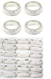 108 Units of Stainless Steel Rings Embezzled Diamond - Rings