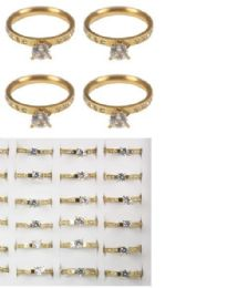 108 Units of Stainless Steel Rings With Diamond - Rings