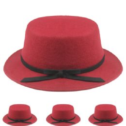 24 Units of Womens Stylish Warm Winter Hat In Maroon With Black Bow - Fashion Winter Hats