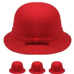 24 Units of Womans Stylish Warm Winter Hat With Bow In Red - Fashion Winter Hats