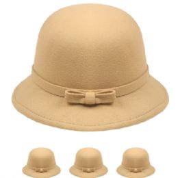 24 Units of Womans Stylish Warm Winter Hat With Bow In Beige - Fashion Winter Hats