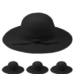 12 Units of Womans Plain Wool Bucket Hat In Black - Fashion Winter Hats