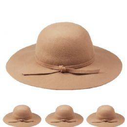 12 Units of WOMANS PLAIN WOOL BUCKET HAT IN BEIGE - Sun Hats