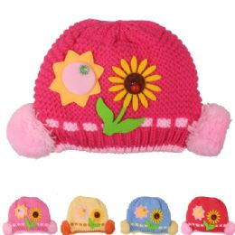 72 Units of Kid Winter Hat With Sun Flower Assorted - Junior / Kids Winter Hats