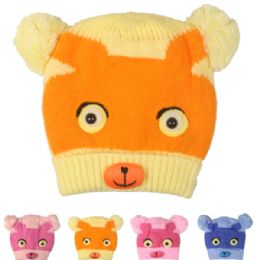 72 Units of Kids Animal Face Winter Hat - Junior / Kids Winter Hats