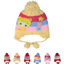 72 Units of Kids Striped Winter Hat With Pom Pom - Junior / Kids Winter Hats