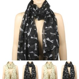 36 Units of Women Fashion Scarf In Black With Dragon Flies - Winter Scarves