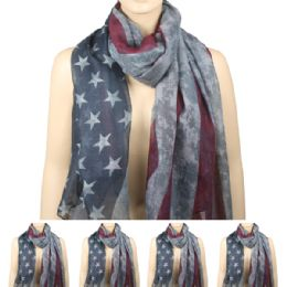 36 Units of Womens Fashionable Scarf Ameican Flag Style - Winter Scarves