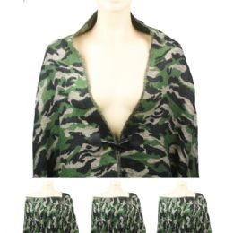 24 Units of Womens Fashionable Winter Scarf Camo Style - Winter Pashminas and Ponchos
