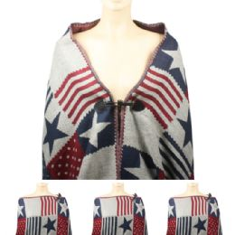 24 Units of Womens Fashionable Winter Scarf With Button Closure - Winter Pashminas and Ponchos