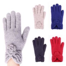 24 Units of Womens Fashion Winter Gloves With Flower In Assorted Colors - Knitted Stretch Gloves
