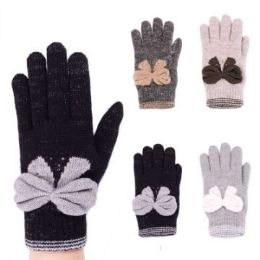 24 Units of Women Fashion Winter Glove With Bow Assorted Colors - Knitted Stretch Gloves