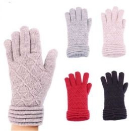 24 Units of Womens Fashion Winter Glove Textured Assorted Colors - Knitted Stretch Gloves
