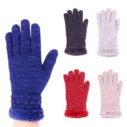 24 Units of Womens Fashion Winter Gloves In Assorted Colors - Knitted Stretch Gloves