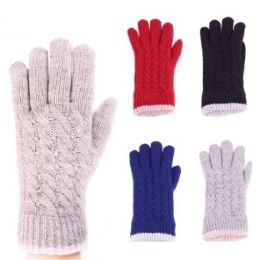 24 Units of Womens Fashion Warm Winter Gloves Textured Assorted Colors - Knitted Stretch Gloves