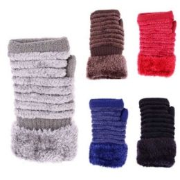 24 Units of Womens Fashion Winter Glove With Fur Assorted Colors - Knitted Stretch Gloves
