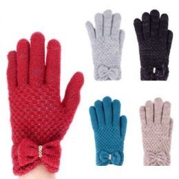 24 Units of Womens Fashion Winter Glove With Bow Assorted Colors - Knitted Stretch Gloves
