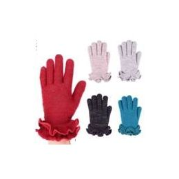 24 Units of Womens Winter Fashion Glove With Ruffle Assorted Colors - Knitted Stretch Gloves