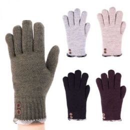 24 Units of Womens Fashion Winter Glove With Buttons Assorted Colors - Knitted Stretch Gloves