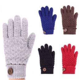 24 Units of Womens Fashion Winter Glove Cuffed With Button Assorted Colors - Knitted Stretch Gloves