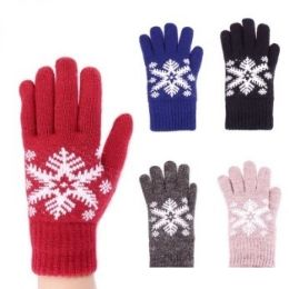 24 Units of Womens Fashion Winter Glove With Snowflake Assorted Colors - Knitted Stretch Gloves