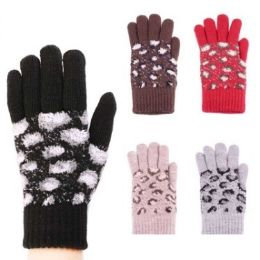 24 Units of Womens Fashion Winter Glove Assorted Colors - Knitted Stretch Gloves