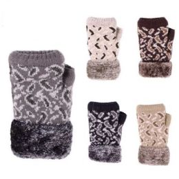 24 Units of Womens Fashion Finger-less Winter Glove With Fur Assorted Colors - Knitted Stretch Gloves