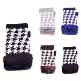 24 Units of Womens Fashion Winter Fingerless Glove With Fur Assorted Colors - Knitted Stretch Gloves
