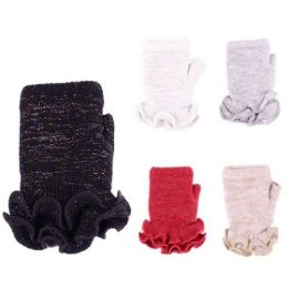 24 Units of Womens Fashion FingeR-Less Winter Glove With Ruffle Assorted Colors - Knitted Stretch Gloves
