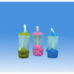 96 Units of KIDS CUP W-STRAW ASST COLOR &ANIMAL DESIGN - Plastic Drinkware