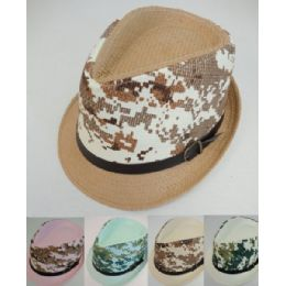 36 Units of Fedora Hat With Buckled Hat Band Camo Printed - Fedoras, Driver Caps & Visor