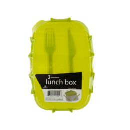 18 Units of Divided Plastic Lunch Box with Fork & Knife - Box Cutters and Blades